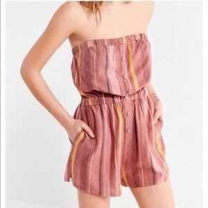 Urban Outfitters Striped Linen Strapless Romper